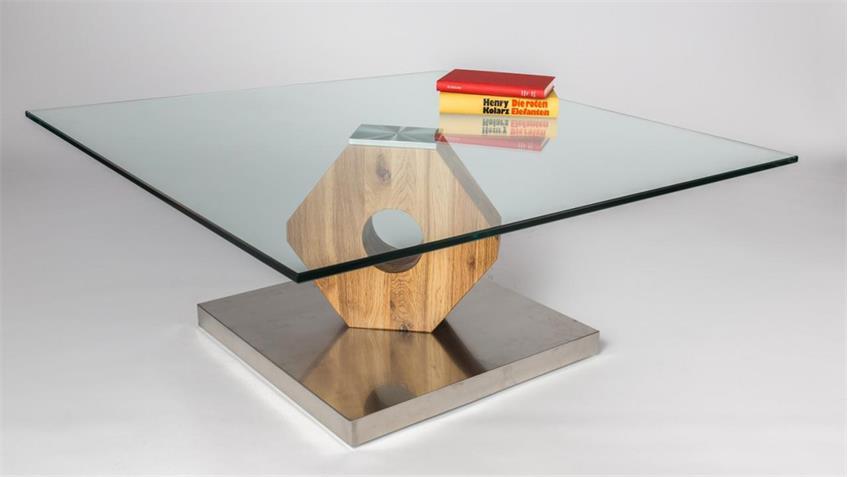 couchtisch felino wildeiche massiv auf edelstahl mit klarglas. Black Bedroom Furniture Sets. Home Design Ideas