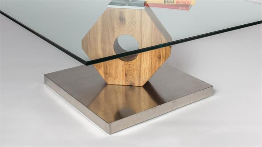 Couchtisch Felino 90x90 massive Wildeiche Edelstahl und Glas