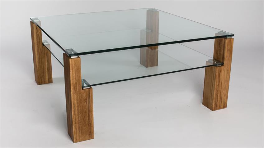 Couchtisch Alviano Glastisch 90x90 mit Wildeiche massiv