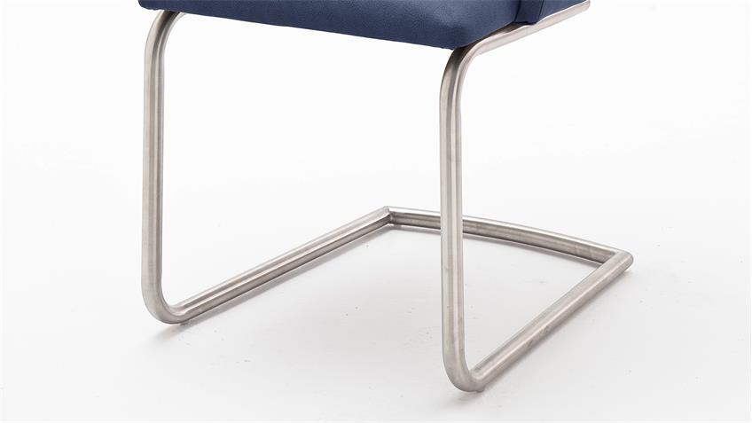 Stuhl MADITA 2er-Set Schwingstuhl Freischwinger Stuhlset in dunkelblau