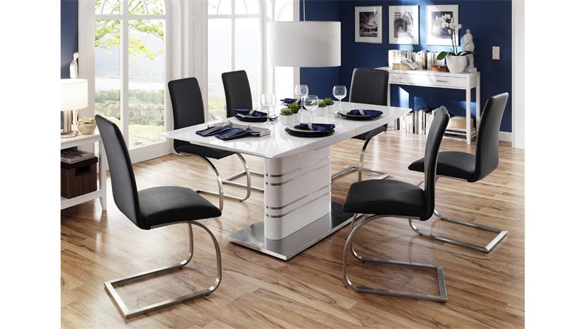 Säulentisch MODI Tisch weiß Hochglanz Lack Synchronauszug 180-220 cm