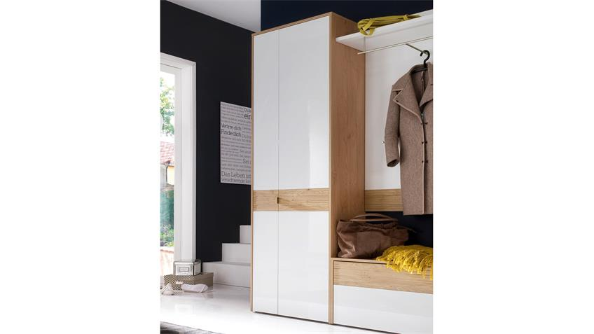 dielenschrank marlisa schuhschrank wei hochglanz eiche push to open. Black Bedroom Furniture Sets. Home Design Ideas
