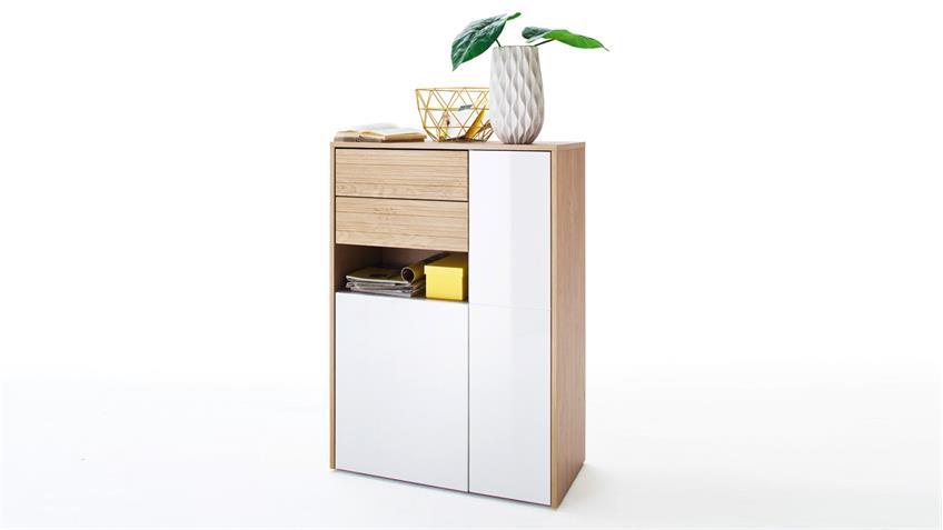 Kommode 1 MARLISA Garderobenschrank weiß Hochglanz Eiche push-to-open