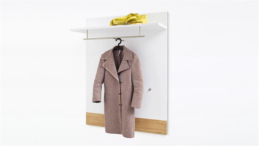 Garderobenpaneel 2 MARLISA Paneel Wandpaneel weiß Hochglanz und Eiche
