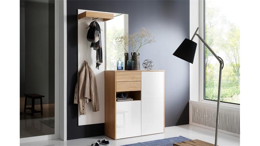 Garderobe 1 MARLISA Flurmöbel 3-tlg weiß Hochglanz Eiche push-to-open