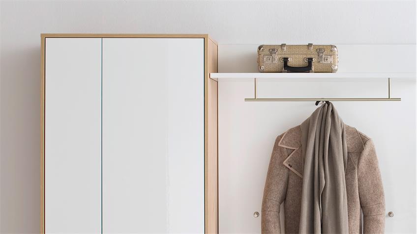 Garderobe 2 MARLISA Flurmöbel 5-tlg weiß Hochglanz Eiche push-to-open