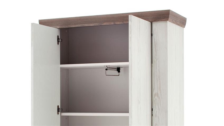Garderobenschrank BOZEN Dielenschrank Pinie weiß und Eiche Landhaus