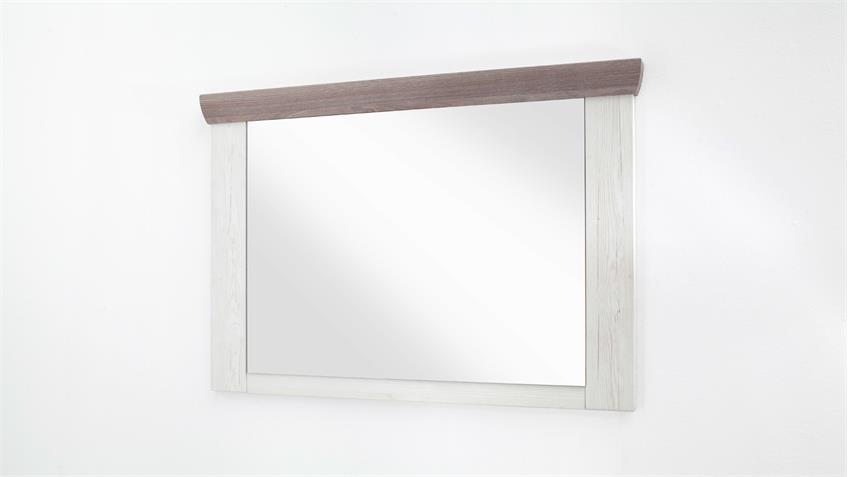 Garderobenspiegel BOZEN Spiegel 104x71 cm Pinie weiß Eiche Landhaus
