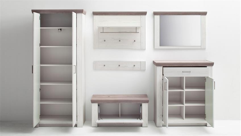Garderobe 2 BOZEN Flurmöbel Komplett Set Pinie weiß und Eiche Landhaus