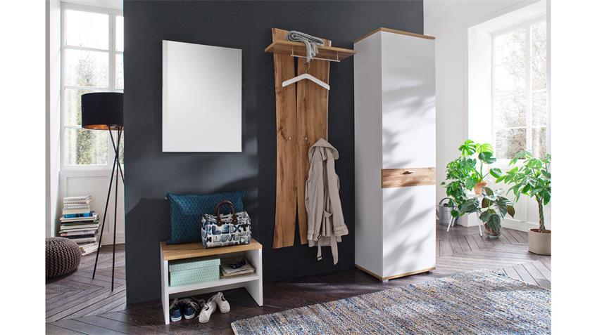 Garderobe 2 NIA Komplettset Flurmöbel weiß Eiche Melamin inkl. Spiegel
