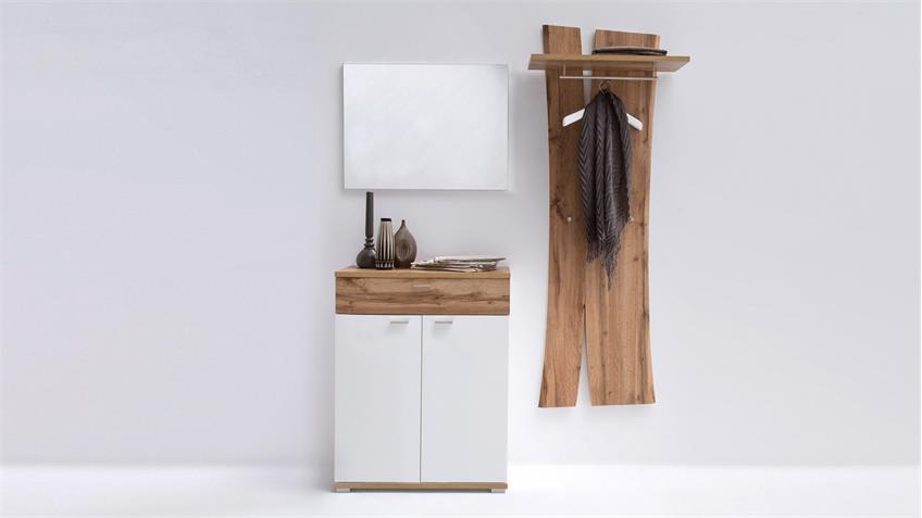 Garderobe 3 NIA Komplettset Flurmöbel weiß Eiche Melamin inkl. Spiegel