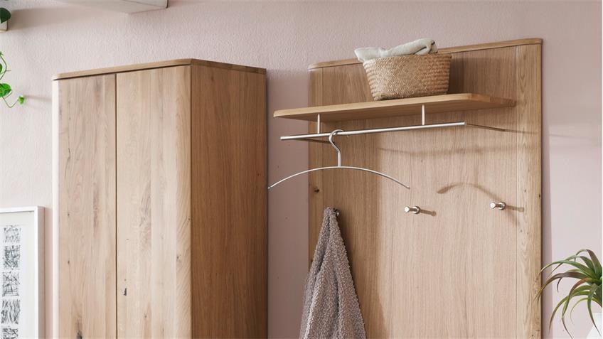 Garderobe NILO Komplett Set in Balkeneiche Bianco teilmassiv furniert