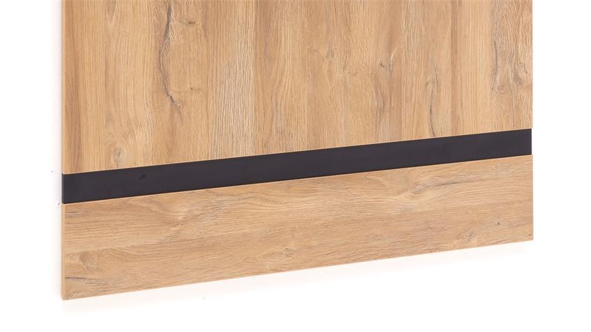 Garderobenpaneel TOLEDO Paneel Wandpaneel Eiche Melamin Metall schwarz