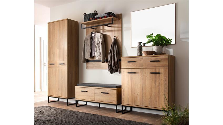 Garderobe 1 TOLEDO Komplett Set Eiche Melamin Metall schwarz 5-teilig