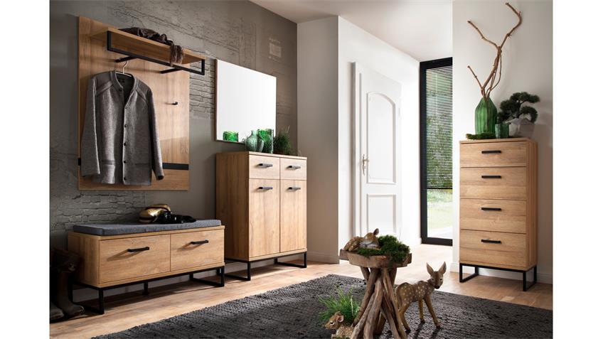 Garderobe 2 TOLEDO Komplett Set Eiche Melamin Metall schwarz 4-teilig