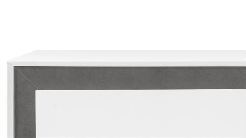 Lowboard Durban weiß lackiert 4 Schubkästen Beton-Optik Rahmen