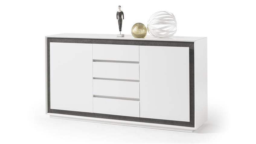 Sideboard DURBAN weiß lackiert Beton-Look Schrank 160 cm