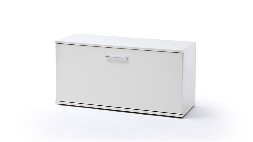Garderobenbank GRANADA Bank Sitzbank weiß Hochglanz lackiert und Eiche