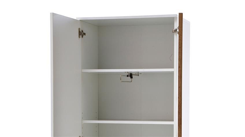 Garderobenschrank GRANADA Dielenschrank weiß Hochglanz lackiert Eiche