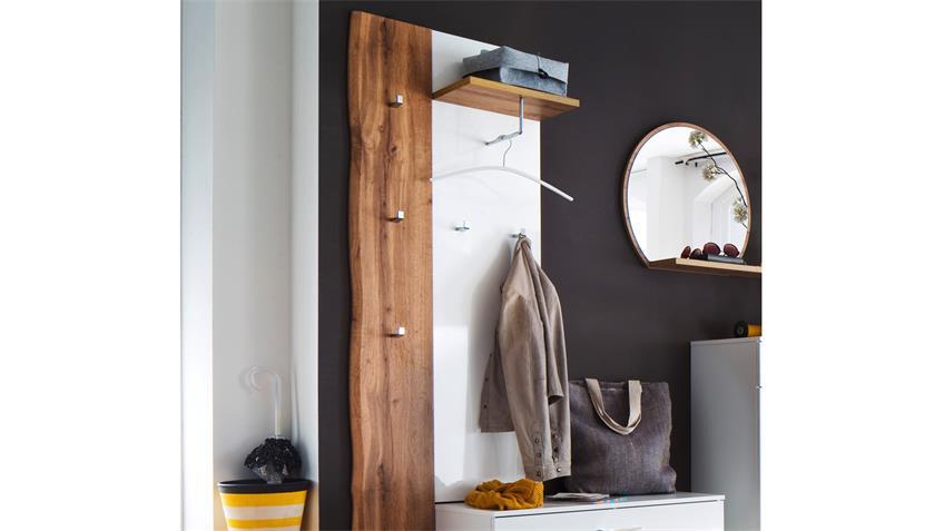 Garderobenpaneel GRANADA Wandpaneel weiß Hochglanz lackiert und Eiche