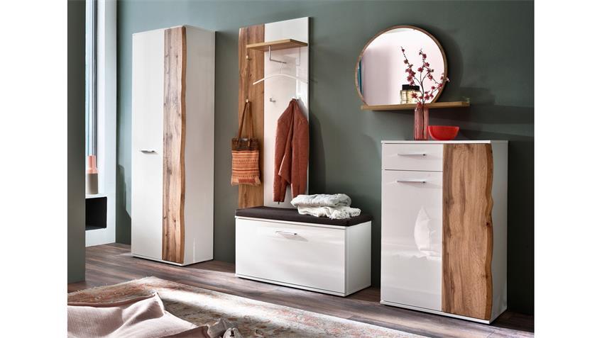 Garderobe 1 GRANADA Komplett Set weiß Hochglanz Lack Eiche mit Spiegel