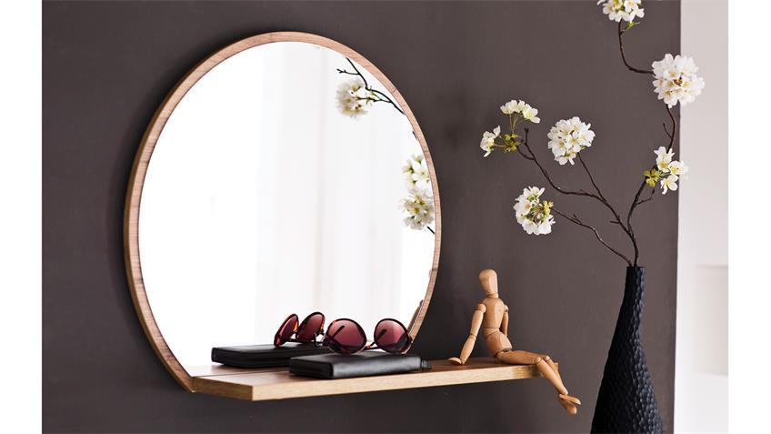 Garderobe 2 GRANADA Komplett Set weiß Hochglanz Lack Eiche mit Spiegel