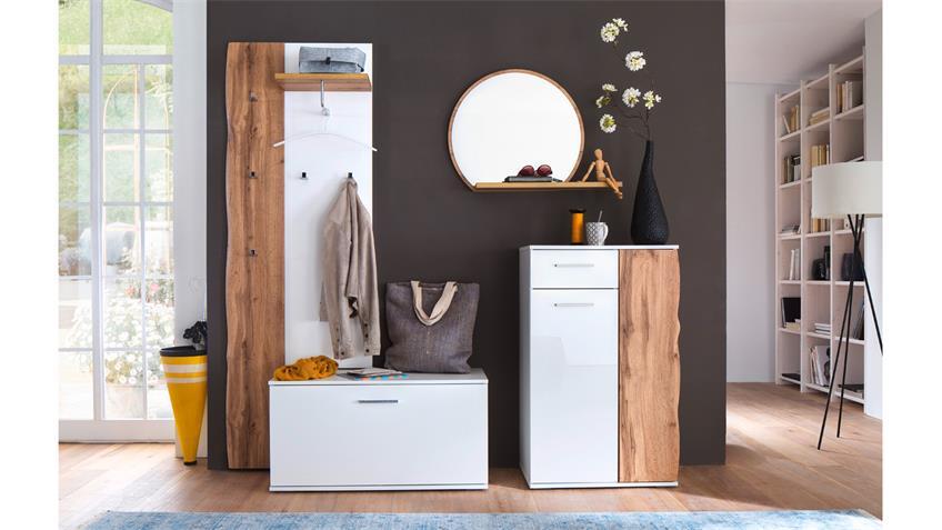 Garderobe 3 GRANADA Komplett Set weiß Hochglanz Lack Eiche mit Spiegel