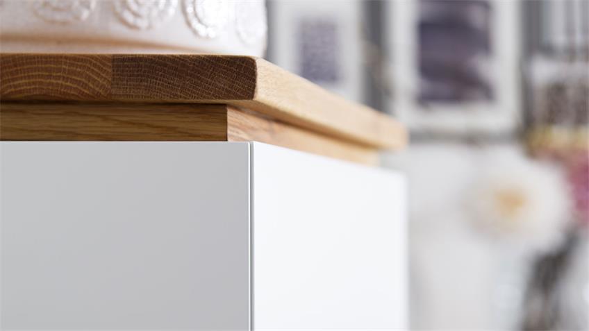 Lowboard CHIARO in weiß matt lack und Asteiche massiv