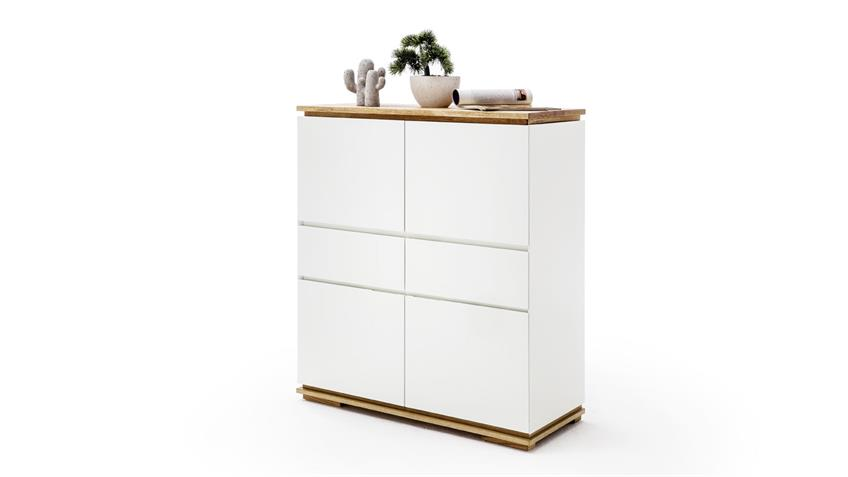 Highboard CHIARO in weiß matt lack und Asteiche massiv