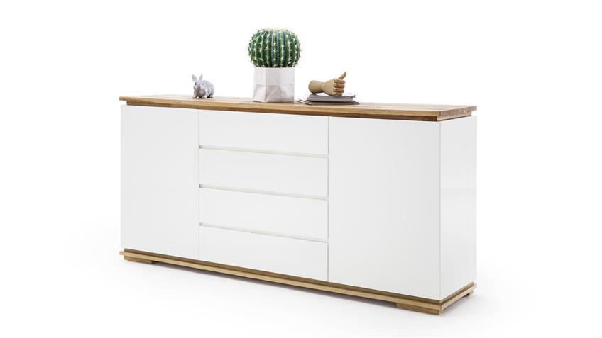 Sideboard CHIARO in weiß matt lack und Asteiche massiv