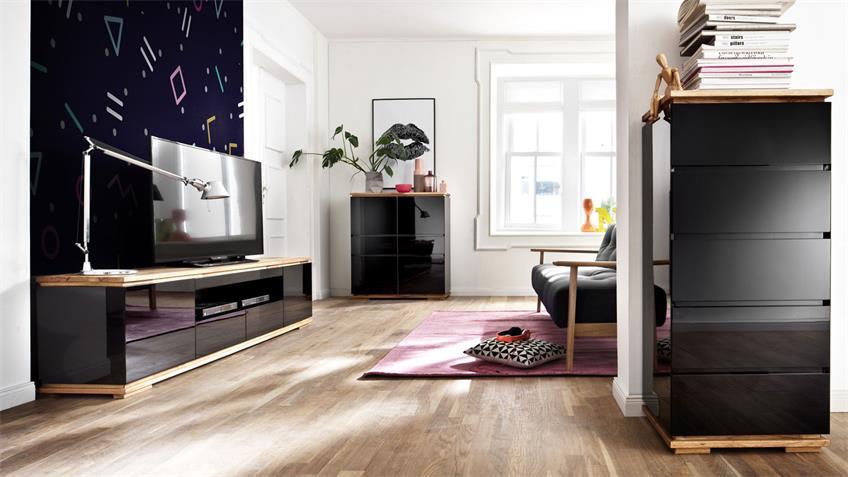 Sideboard CHIARO schwarz Hochglanz und Asteiche massiv