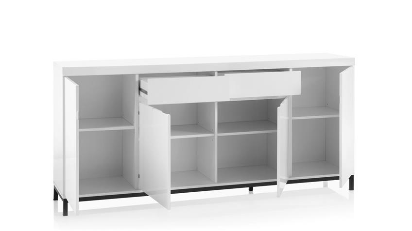 Sideboard 2 GRENOBLE weiß Hochglanz Lack Metall schwarz