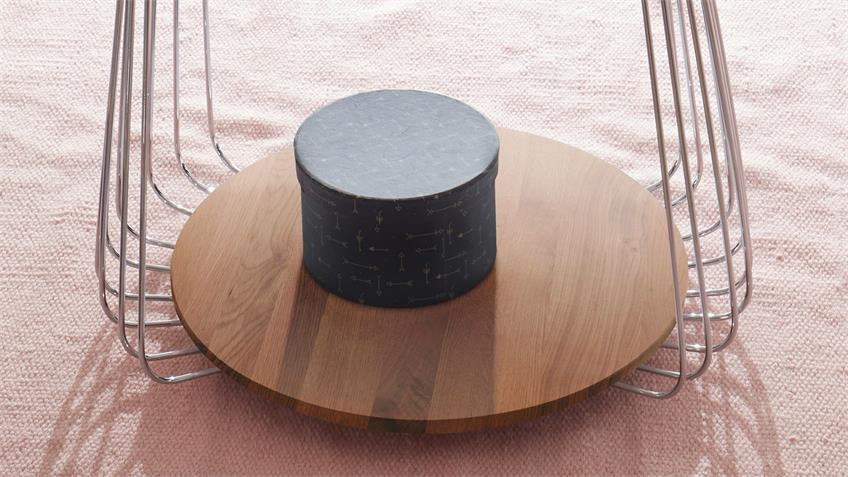 Couchtisch VILNIUS Asteiche massiv geölt Metall 50x50 cm