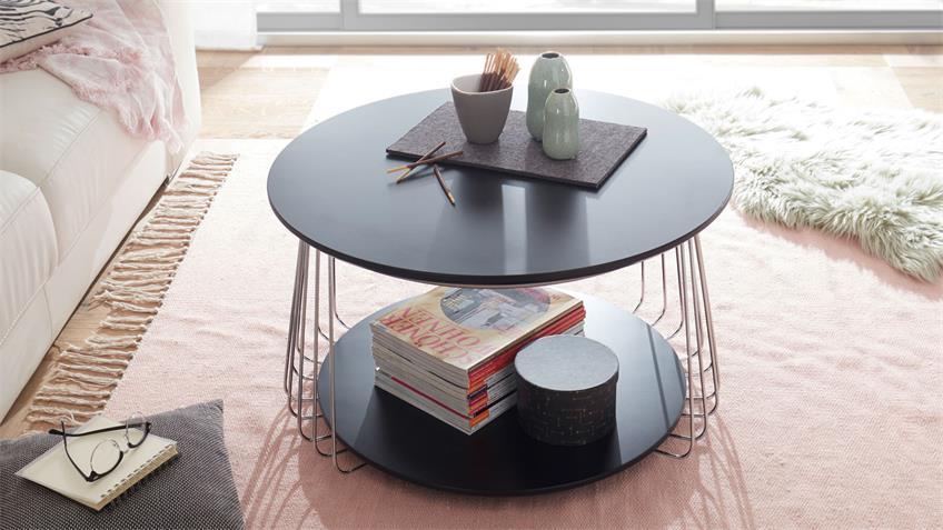 Couchtisch VILNIUS schwarz matt lackiert Metall 70x70 cm