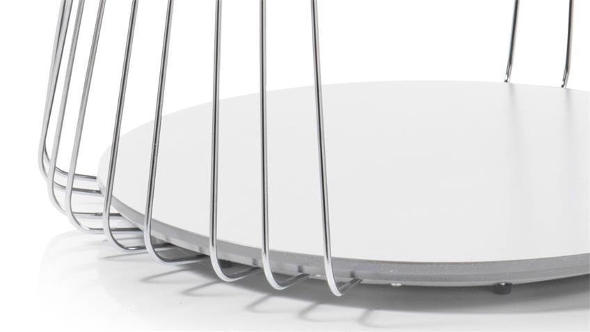 Couchtisch VILNIUS weiß matt lackiert Metall 70x70 cm