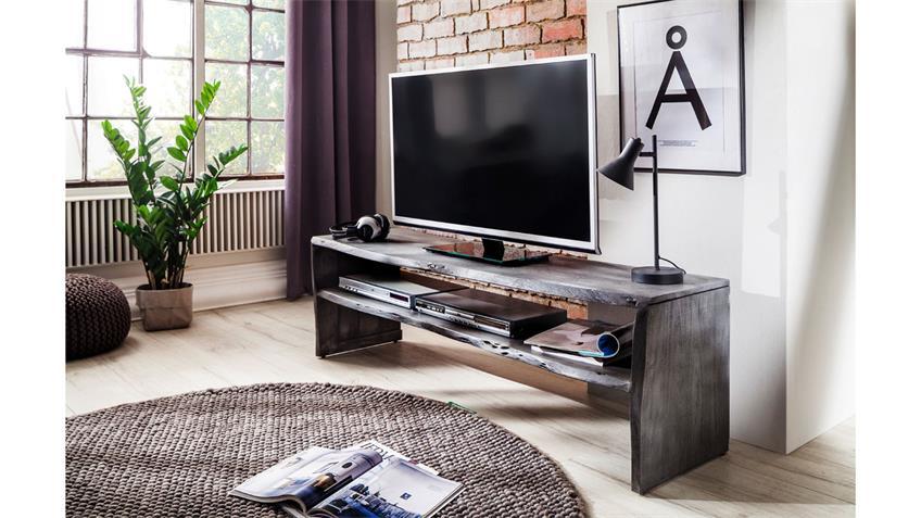 Tv Board Birami Lowboard Akazie Massiv Grau Baumkante