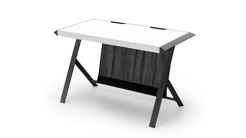 Schreibtisch McRACING Metall lackiert mattschwarz weiß Bürotisch
