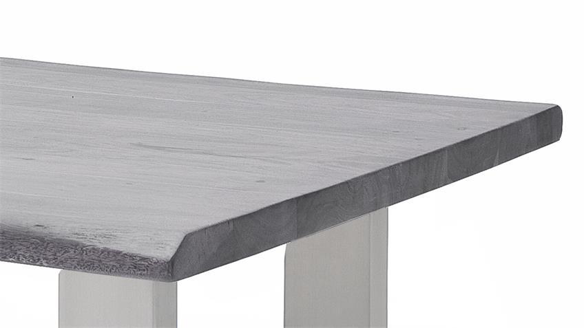 Couchtisch CARTAGENA Akazie grau Lack Edelstahl 75x75