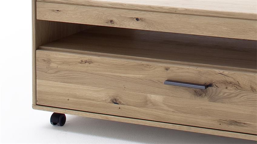 Couchtisch PONTIAC Eiche Bianco teilmassiv 115x65 cm rollbar