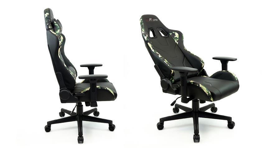 Bürostuhl McRACING Drehstuhl Chefsessel tarnfarben grün