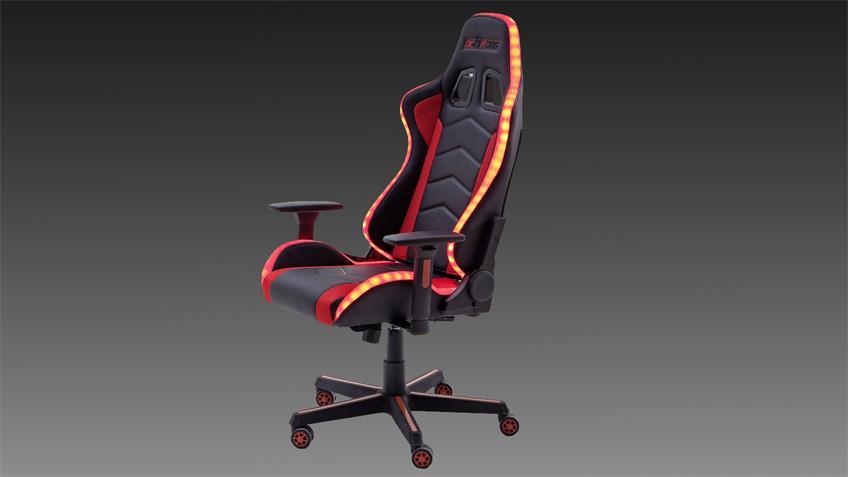 Gamingsessel McRACING LED-Bürostuhl Gamingstuhl rot schwarz