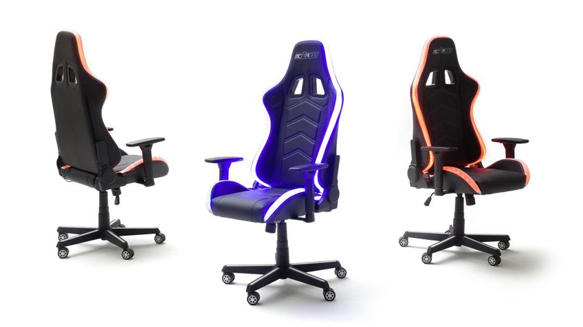 Gamingsessel McRACING Chefsessel weiß schwarz inkl. LED
