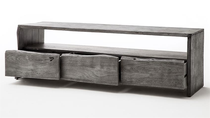 TV-Board Bugri TV-Schrank Holz Akazie massiv grau 145 cm