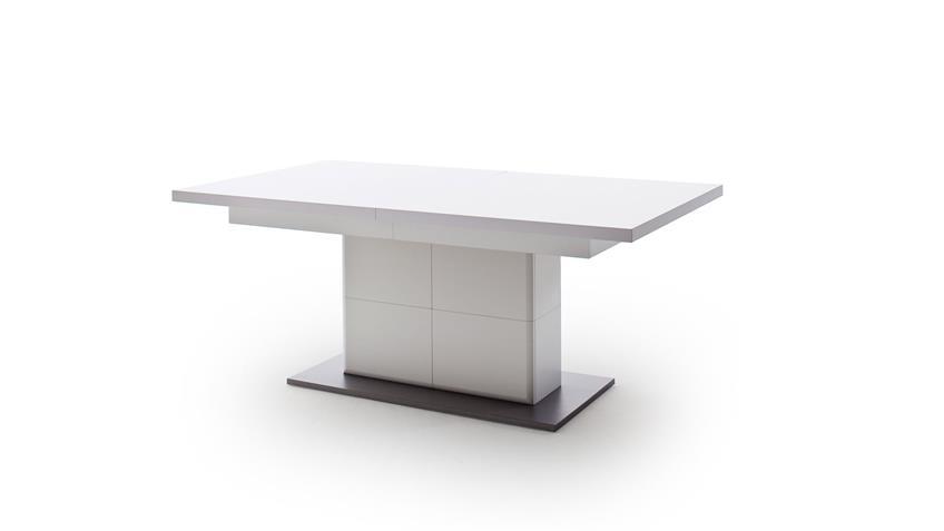 Esstisch AMORA weiß matt tiefzieh grau ausziehbar 180-280 cm