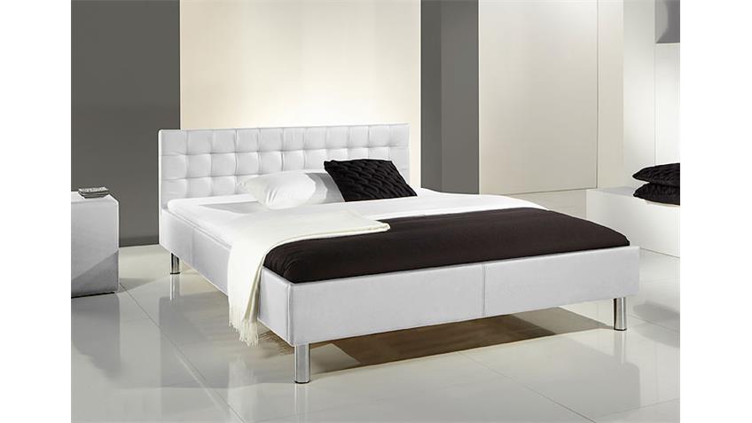 Polsterbett POKO Bett in schwarz und Chrom 140x200 cm