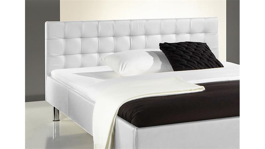 Polsterbett POKO Bett weiß Lederlook und Chrom 140x200 cm