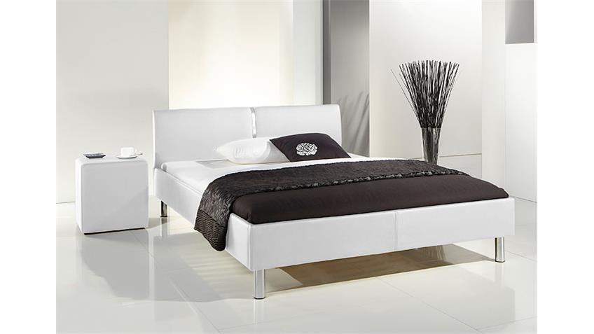 Polsterbett RUIS Bett in schwarz und Chrom 140x200 cm