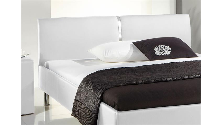 Polsterbett RUIS Bett weiß Lederlook und Chrom 140x200 cm
