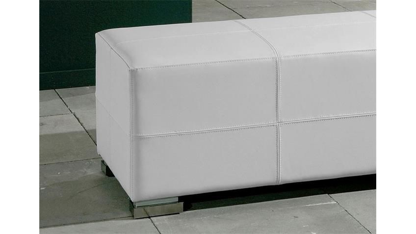Sitzbank HOMER gepolsterte Bank in Weiß und Chrom 120 cm