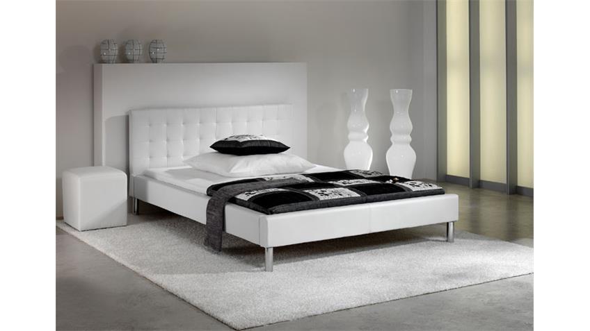 Polsterbett MOGY Bett in schwarz und Chrom 140x200 cm